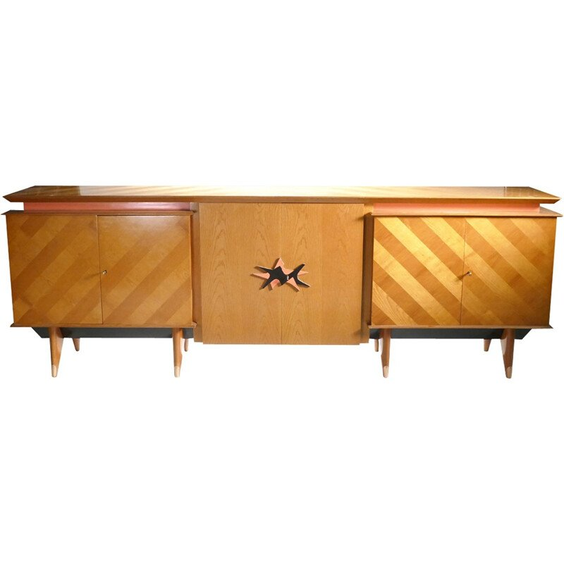 Large french vintage sideboard made of cherrywood - 1950s