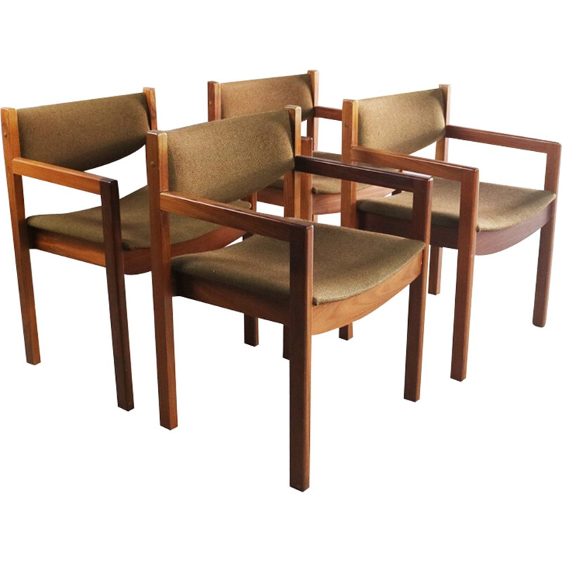 Set of 4 vintage danish dining chairs with original upholstery - 1970s