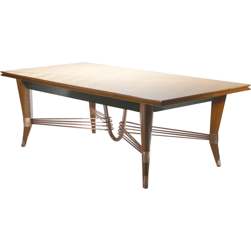 Large vintage cherrywood and copper table - 1950s