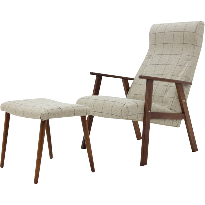 Vintage Scandinavian Teak Lounge Chair With Stool - 1960s