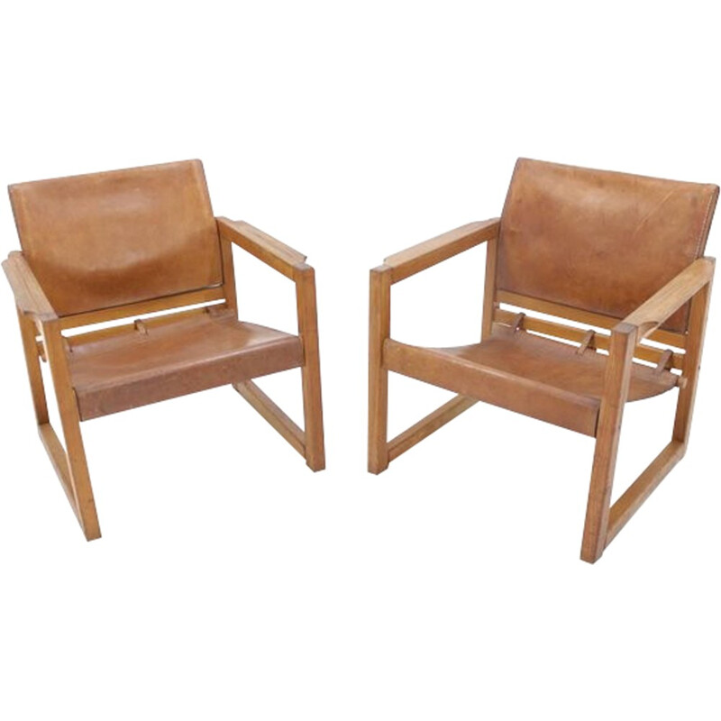 Pair of Vintage Leather Safari Chairs Designed by Karin Mobring - 1970s.