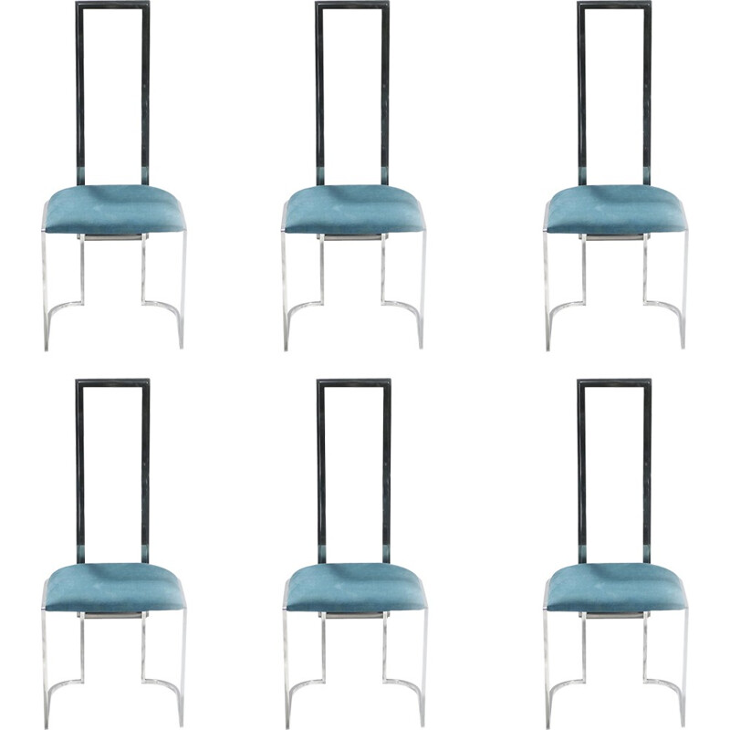 Set of 6 vintage upholstered Italian metal and plexiglass chairs - 1970s