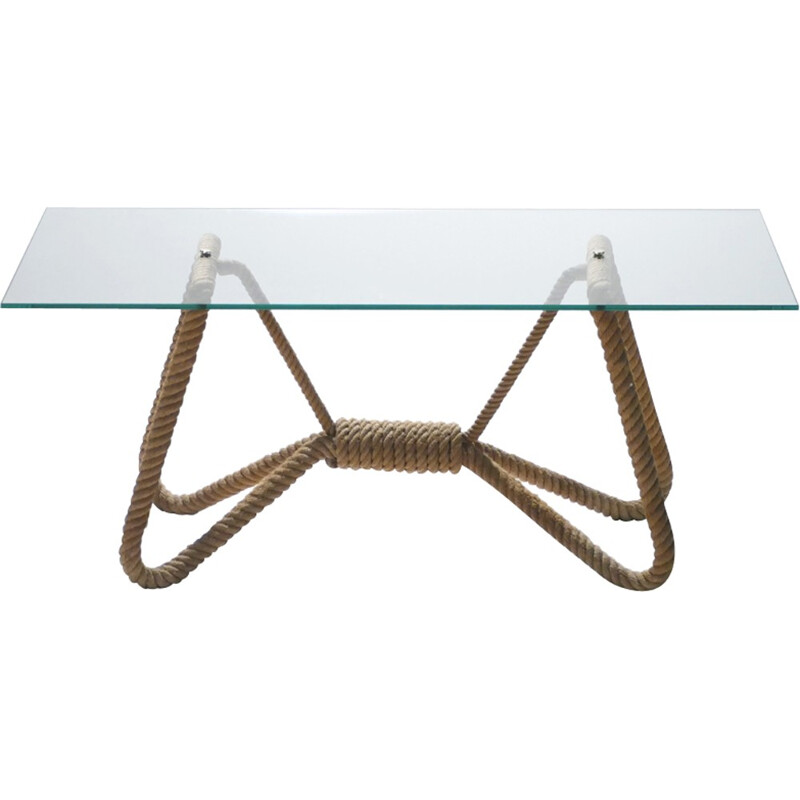 Glass and brass rope coffee table by Adrien Audoux et Frida Minet - 1960s