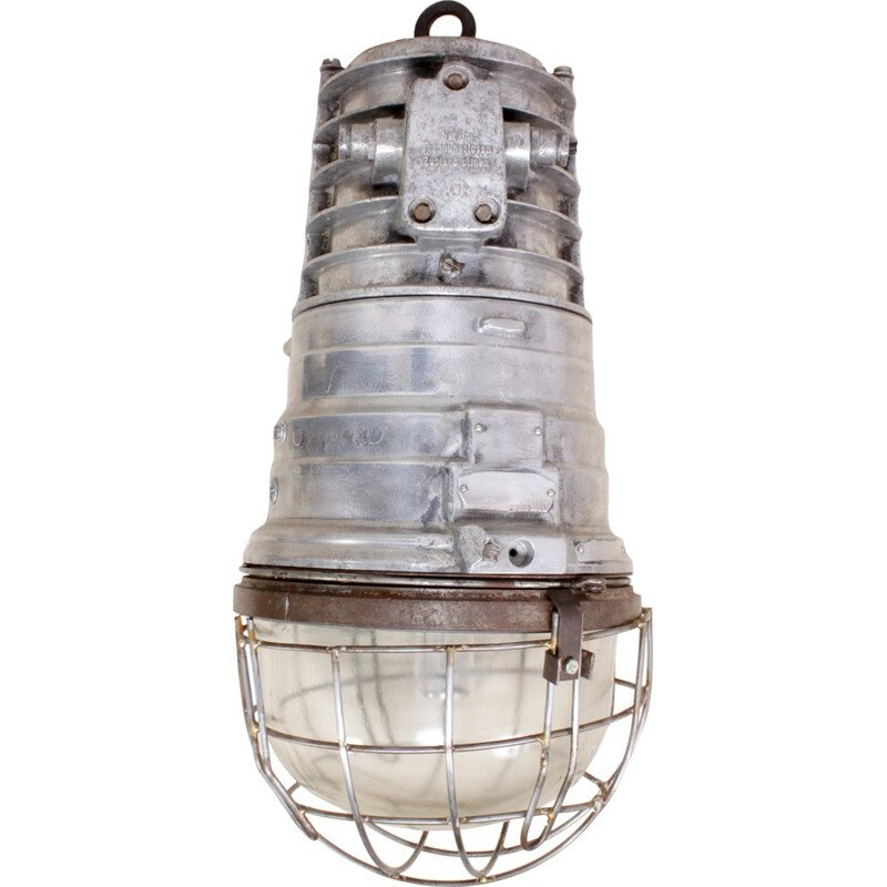 Industrial warehouse light in polished aluminium - 1950s