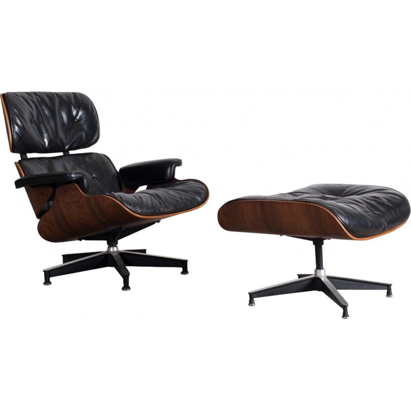 Lounge armhair and ottoman 1st edition by Charles & Ray Eames - 1950s