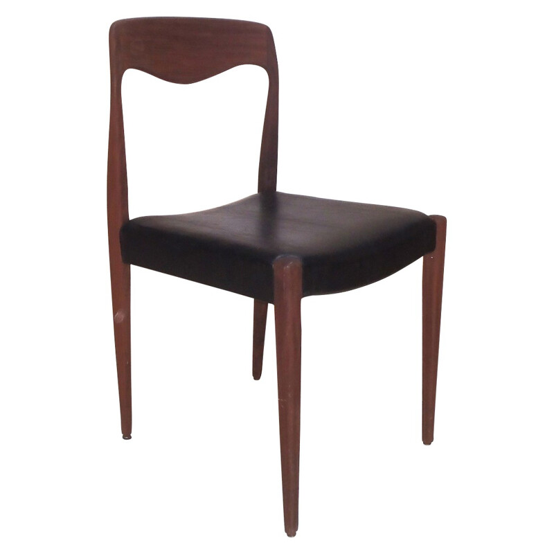 Set of 8 Scandinavian chairs in teak and leatherette - 1950s