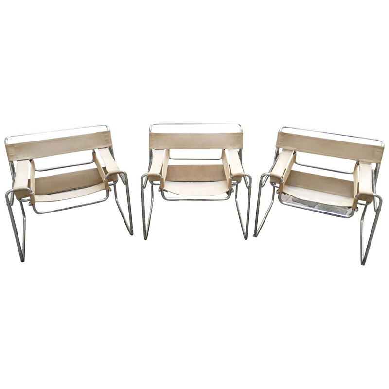 "Set of 3 armchairs ""Wassily"" in chrome and beige fabric, Marcel BREUER - 1970s"