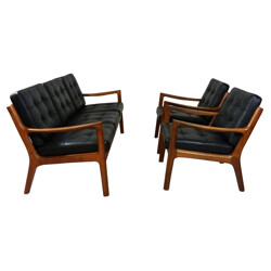 Lounge suite in teak and black leather, Ole WANCSHER - 1960s