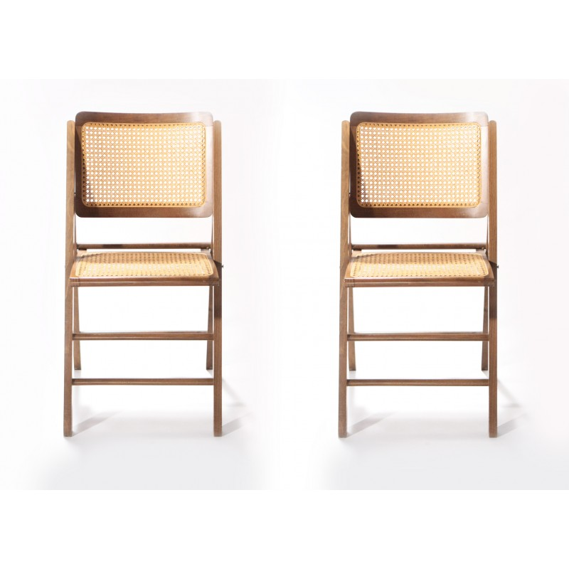 1950s Accent Chairs.Pair Of Vintage Caned Folding Chairs In Wood 1950s