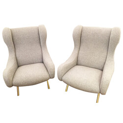 "Pair of armchairs ""Senor"" in brass and grey Kvadrat fabric, Marco ZANUSO - 1950s"