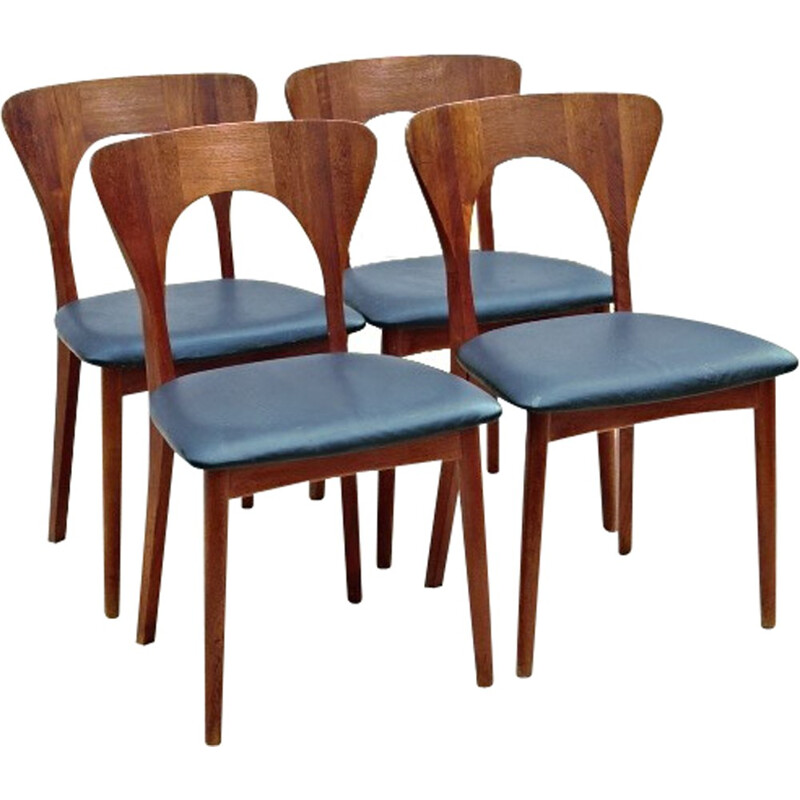 Set of 4 danish teak chairs by Niels Koefoeds - 1958