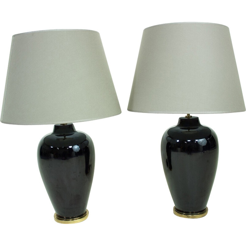 Set of 2 ceramic and brass lamps - 1960s