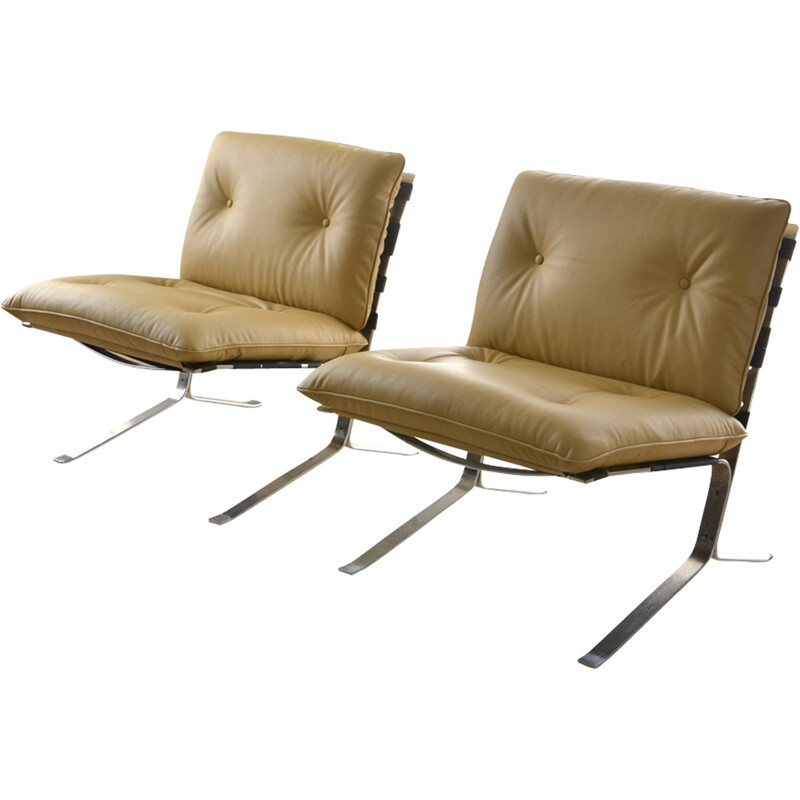 "Pair of vintage ""Joker"" armchairs by Olivier Mourgue for Airborne - 1960s"