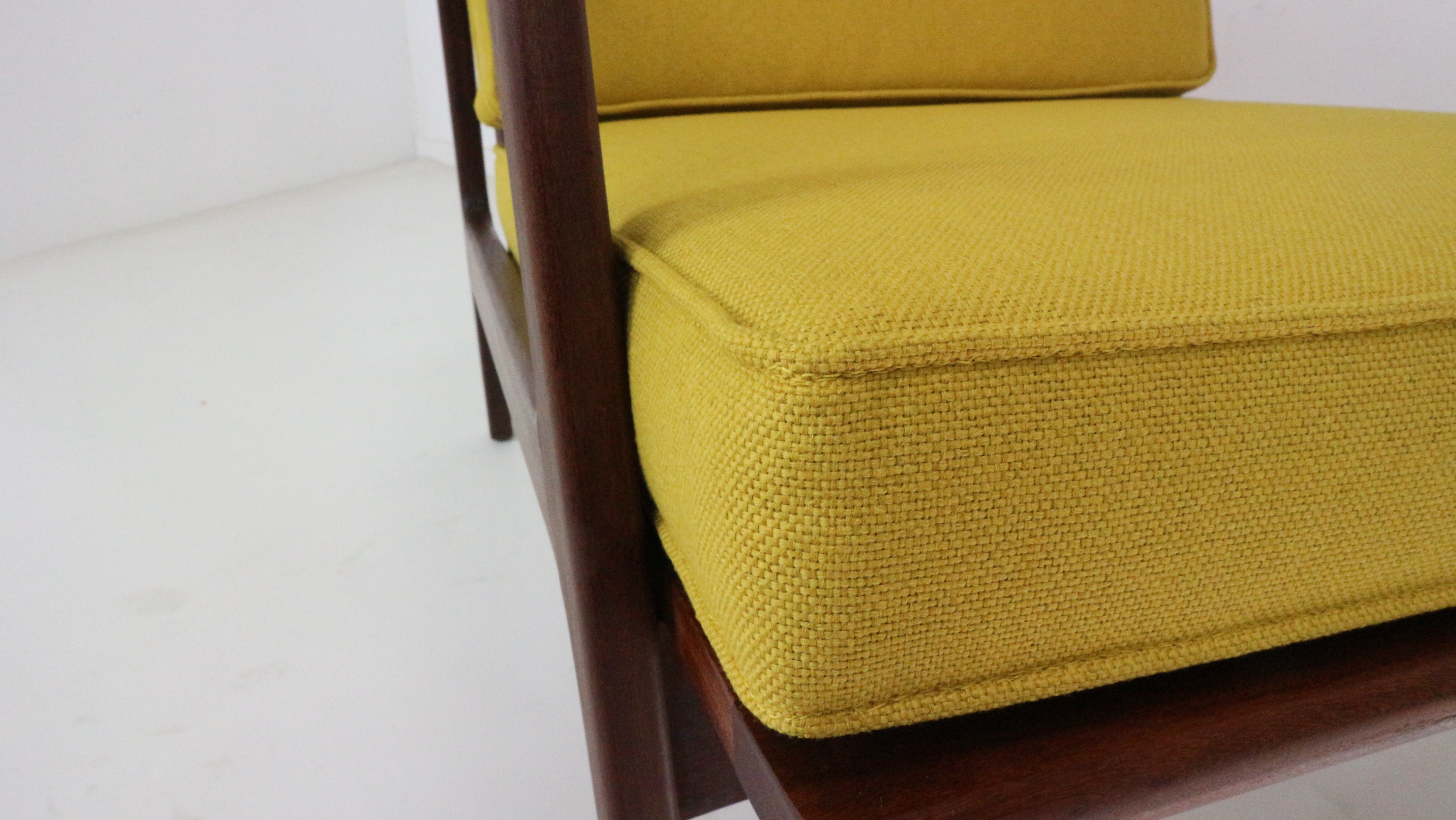Modernist Danish Teak Armchair Newly Upholstered In Mustard Yellow   1960s.  Previous Next