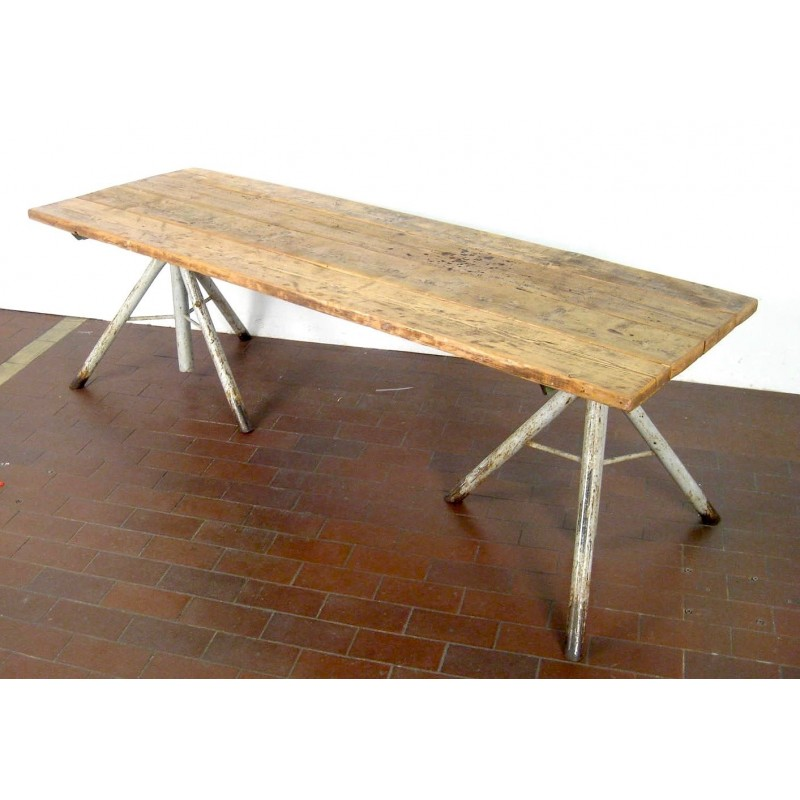Large Mid Century High Table Made Of Oak And Metal Craft 1950s