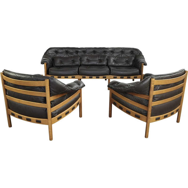 Vintage seating set in teak and leather by Arne Norell for Coja - 1960s