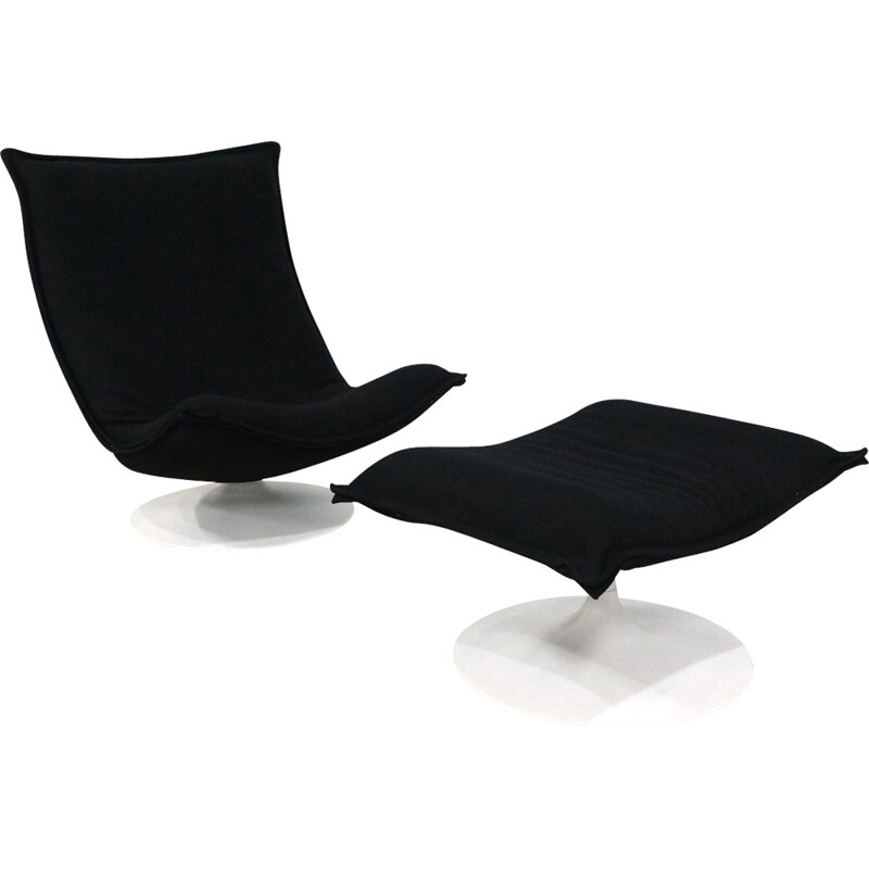 Armchair and ottoman black model 984 by Geoffrey Harcourt for Artifort - 1970s