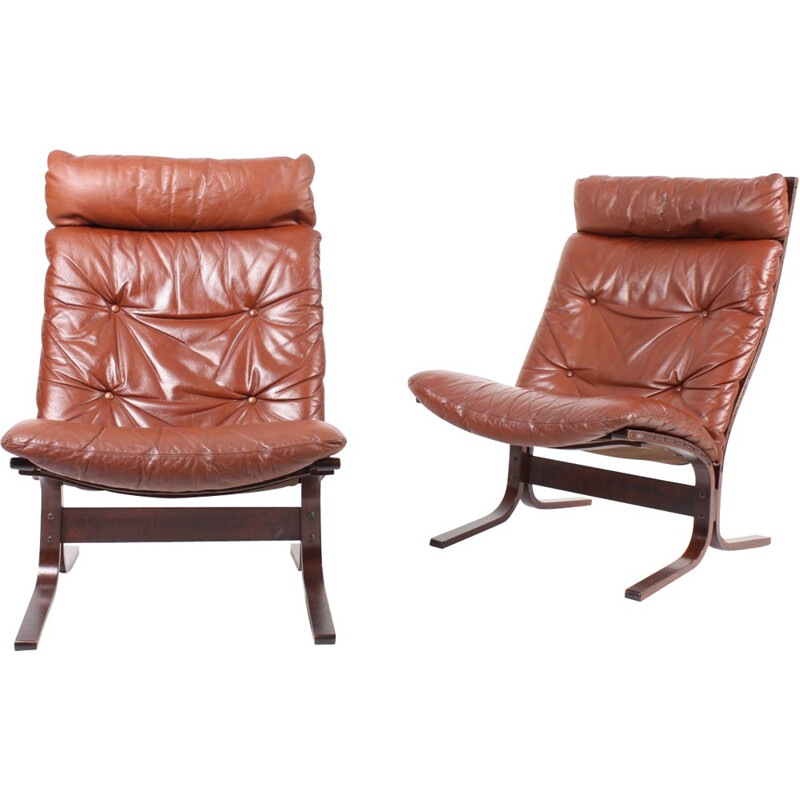 Pair of lounge armchairs in leather by Ingmar Relling - 1960s