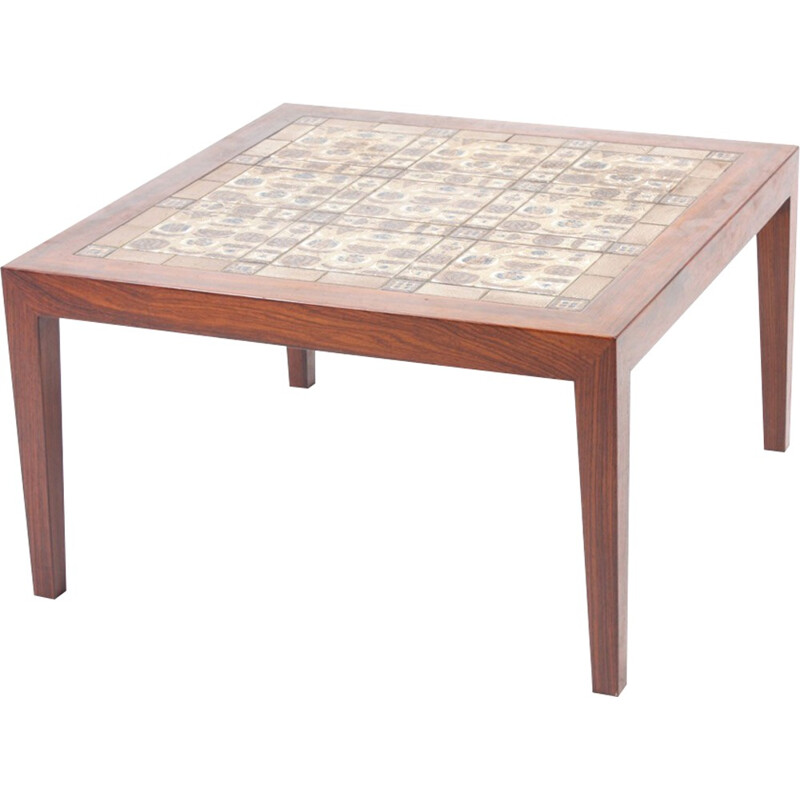 Mid-century Rosewood Table with Royal Copenhagen Tiles by Severin Hansen for Haslev Møbelsnedkeri - 1970s