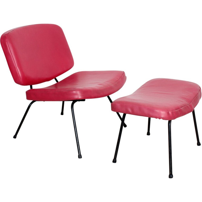 Low chair CM 190 with footstool by Pierre Paulin - 1950s