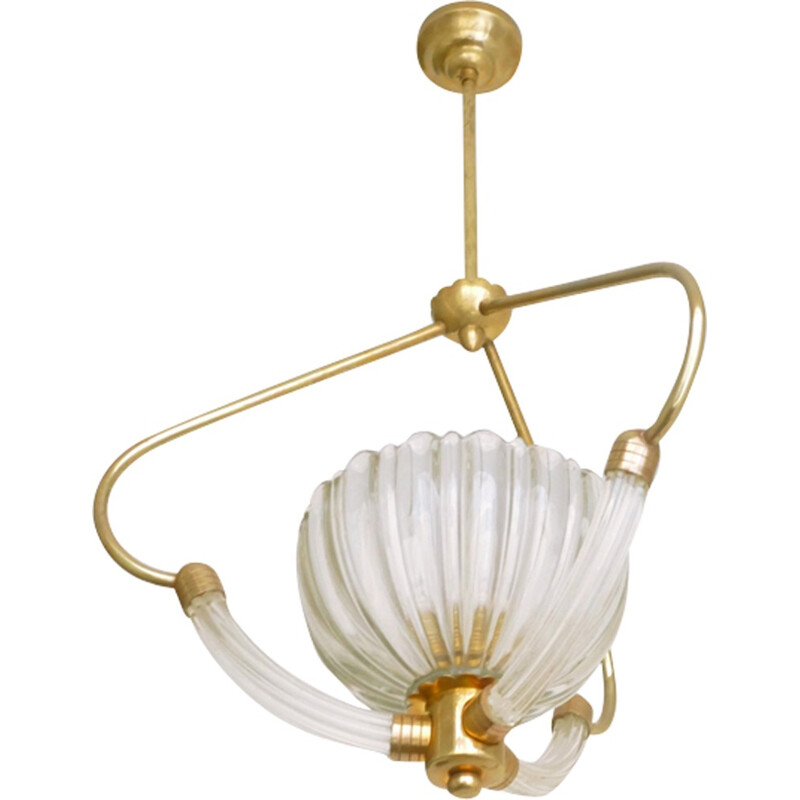 Italian chandelier in glass and brass by Barovier & Toso Murano - 1960s