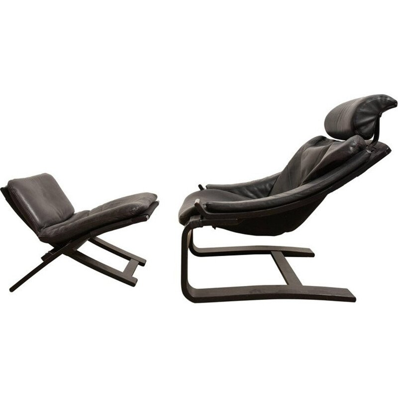Black cantilever lounge armchair and footstool by Ake Fribyter for Nelo - 1980s