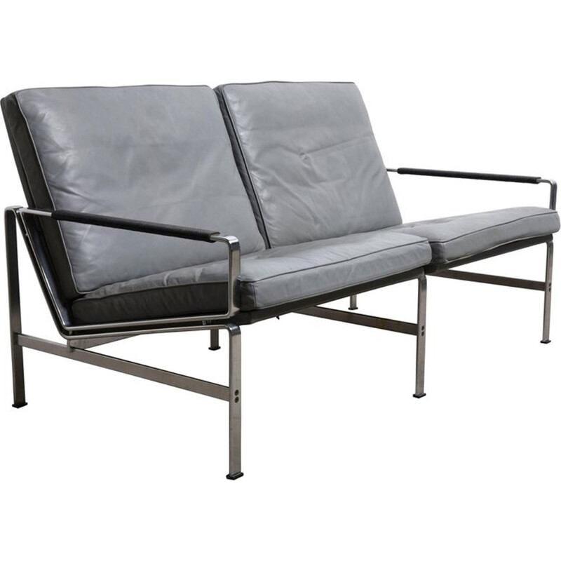 Vintage FK 6720 black leather sofa, Fabricius and Kastholm for Kill International - 1960s
