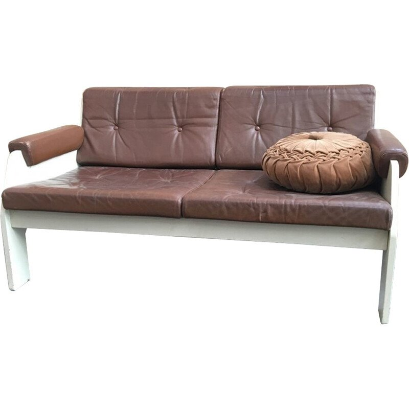 Vintage sofa in wood and leatherette - 1980s