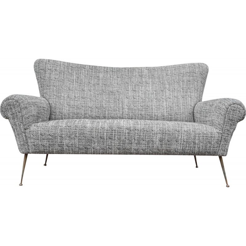Italian sofa in gray fabric - 1950s