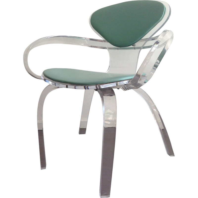 Lovely Chair Made Of Lucite With Green Backrest   1980s