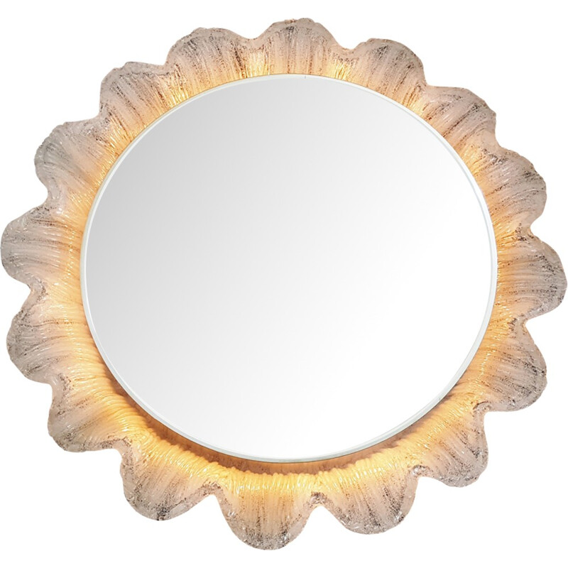 Flower backlit mirror made of resin - 1970s