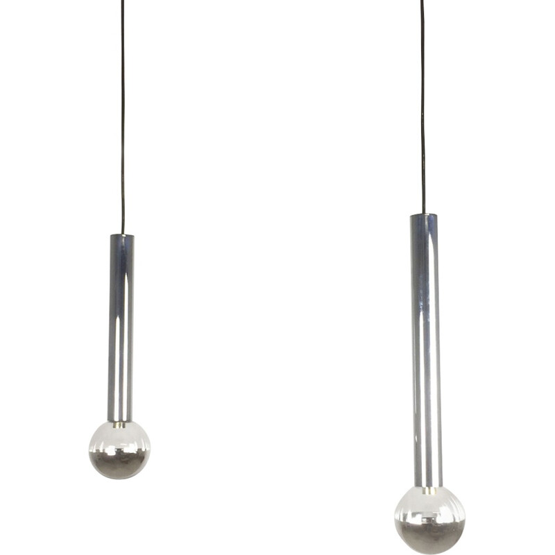 "Set of 2 ""Glass Bulb""hanging Lights in chromed metal  by Motoko Ishi for Staff Lights - 1970s"