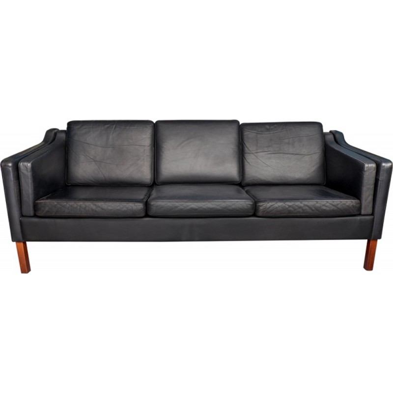Delightful Vintage Black Leather Sofa By Hans Morgensen   1970s