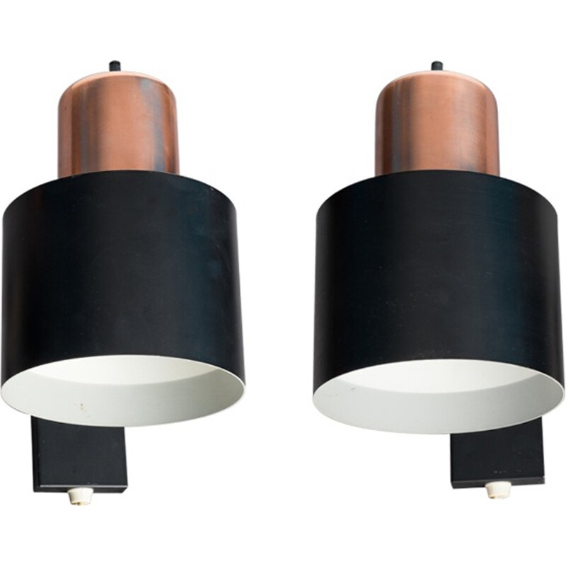 Vintage pair of wall lamps by Jo Hammerborg - 1960s