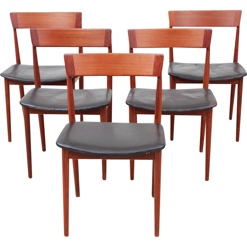 Suite of 5 vintage Scandinavian teak chairs model 39 by Harry Rosengren Hansen for Brande Møbelindustri - 1960s