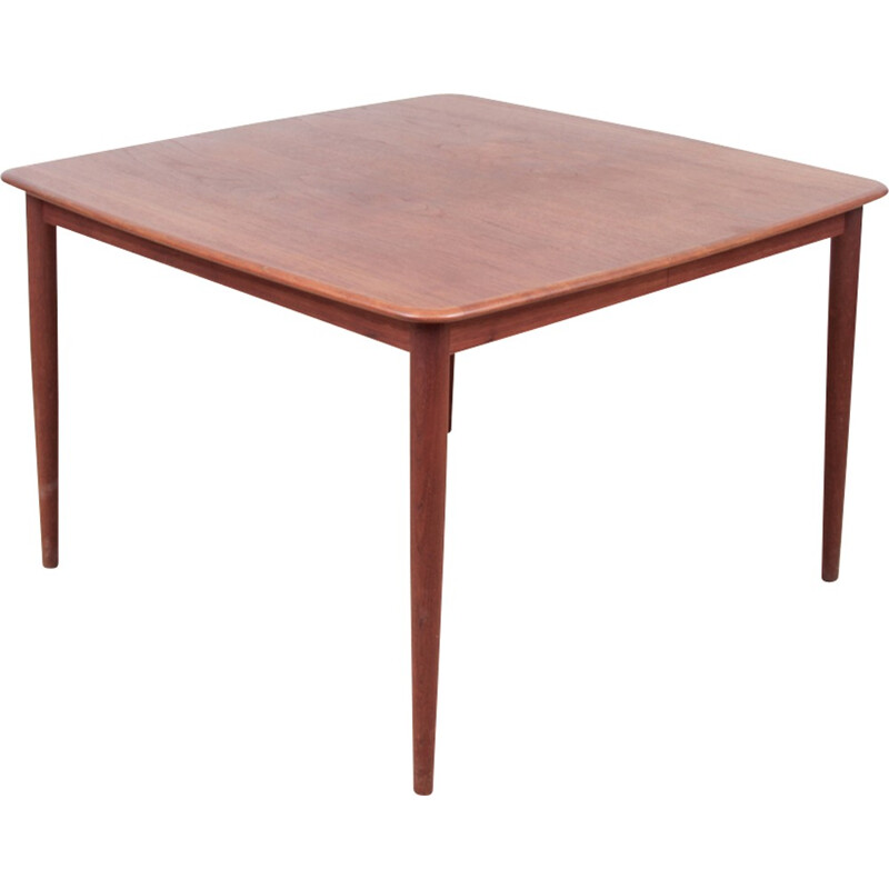Scandinavian square teak dining table - 1960s