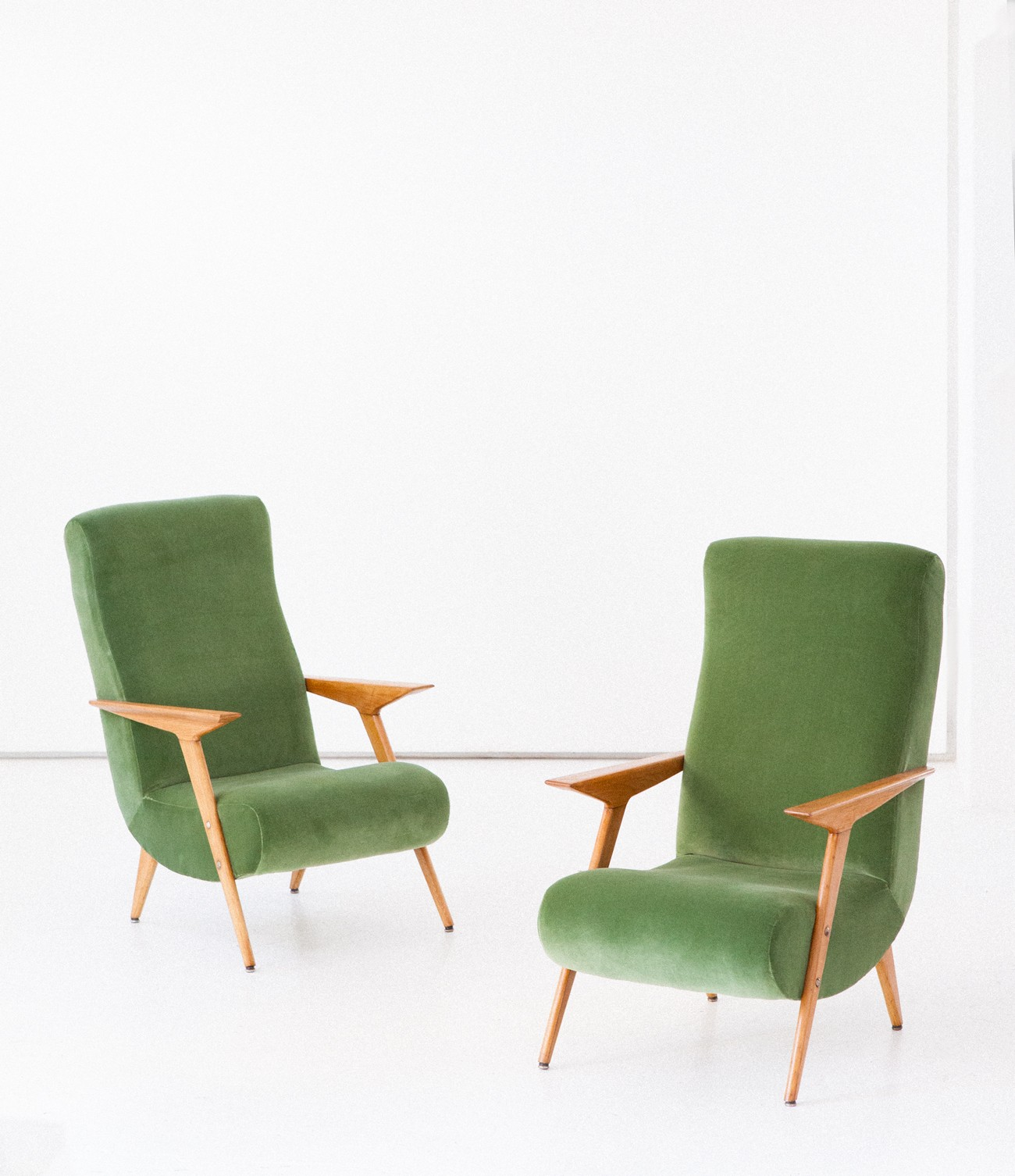 Pair of vintage oak wood and new green cotton velvet armchairs 1950s vintage designer furniture
