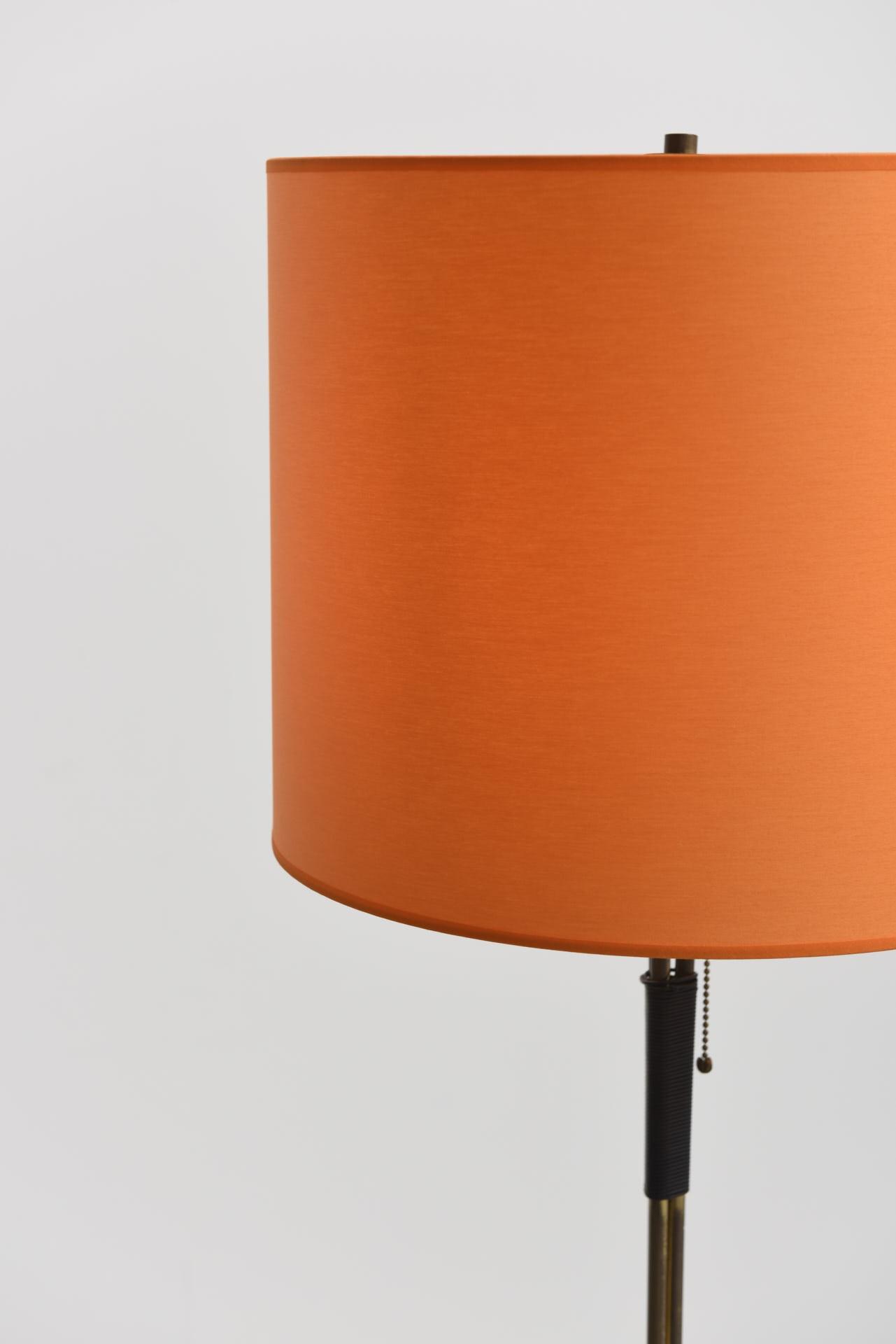 Vintage brass floor lamp with orange lamp shade 1950s design market lamp shade 1950s previous next aloadofball Choice Image