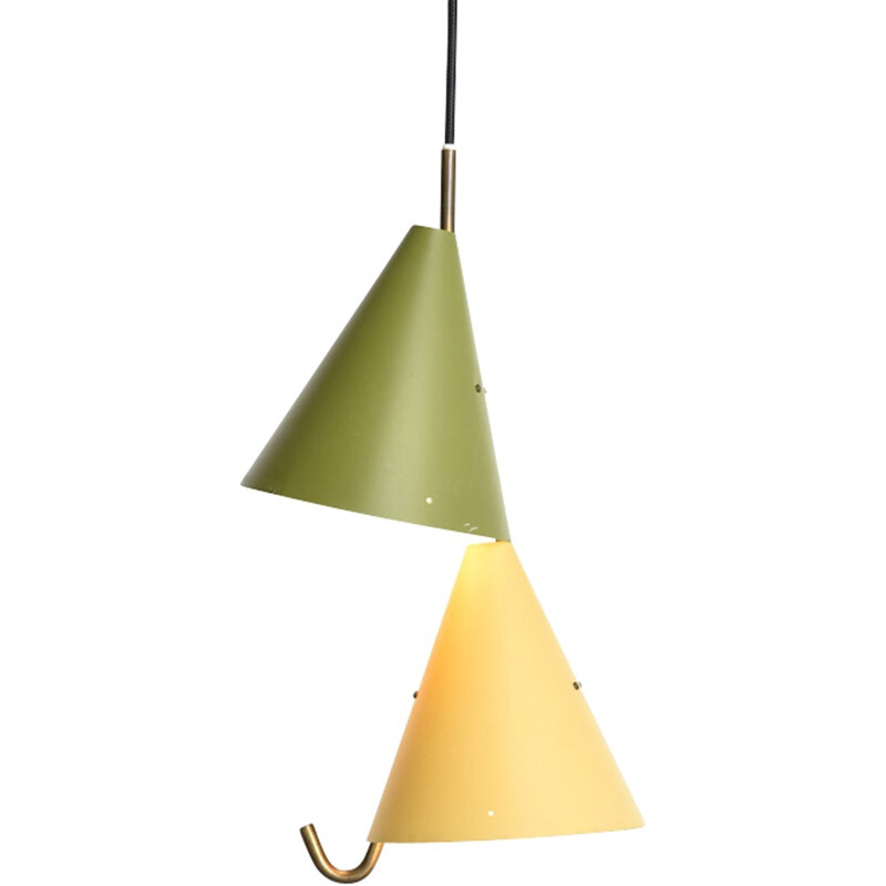Pendant green and yellow by Svend Aage Holm Sørensen for Lyfa - 1950s