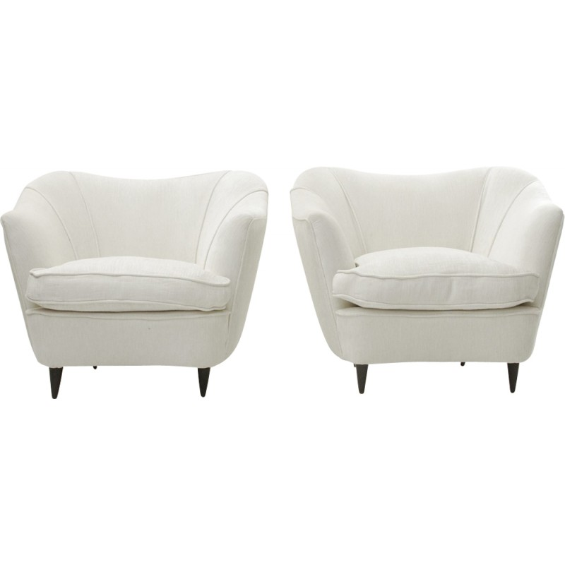 Pair Of Italian White Velvet Armchair   1950s