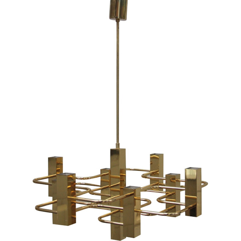 Vintage brass chandelier with 9 light sockets - Gaetano Sciolari - S.A. Boulanger - Belgium - 1970s