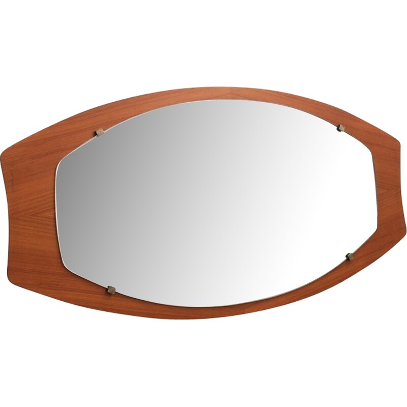 Large scandinavian vintage Oval Mirror - 1950s
