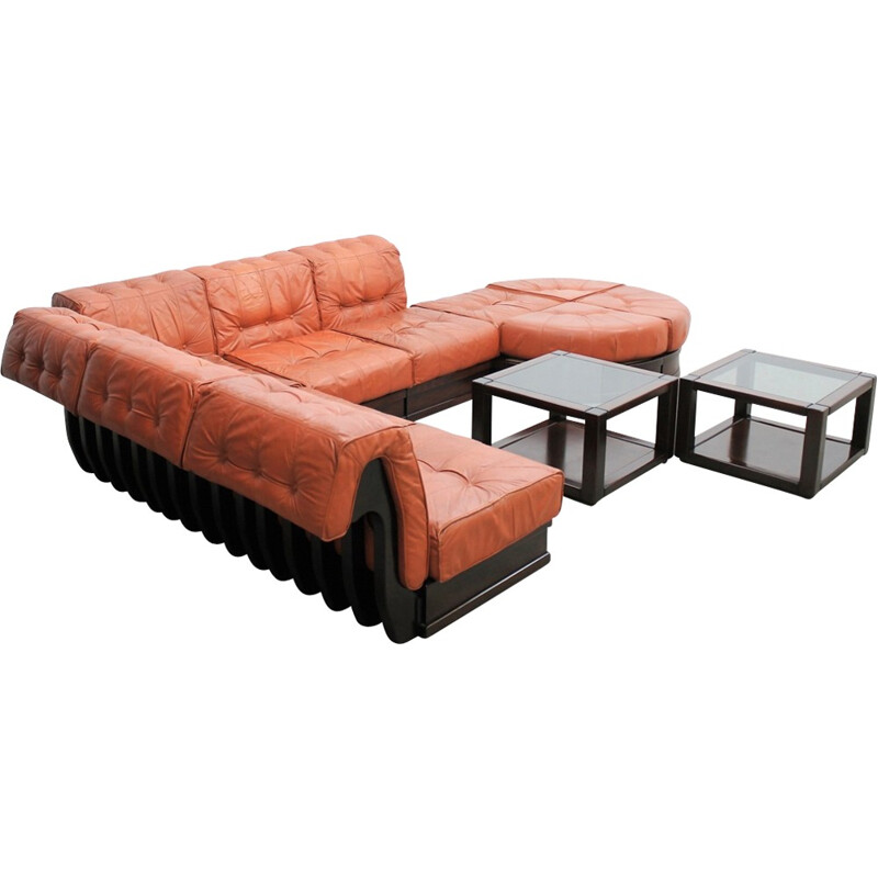 Vintage Leather modular sofa by Luciano Frigerio - 1960s