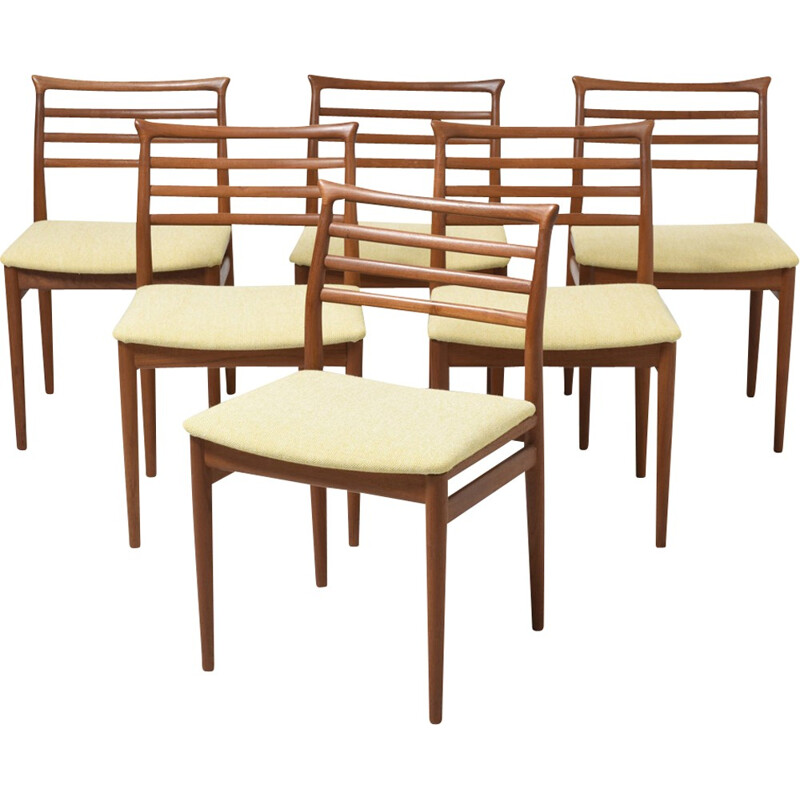 Vintage set of  6 dining teak chairs by Erling Torvits - 1960s