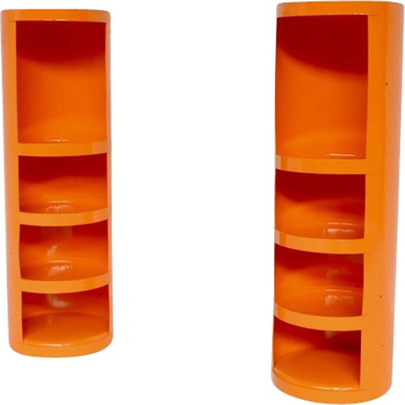 Pair of vintage orange shelves by Jean Louis Avril - 1960s