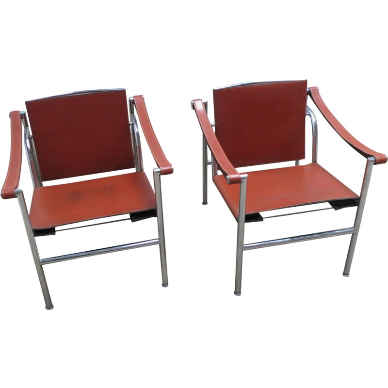 Pair of LC1 armchairs by Le Corbusier, Charlotte Perriand and Pierre Jeanneret for Cassina - 1980s