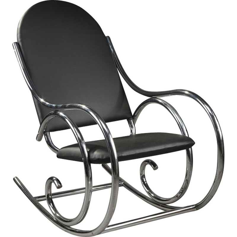Rocking chair in metal and leatherette - 1950s