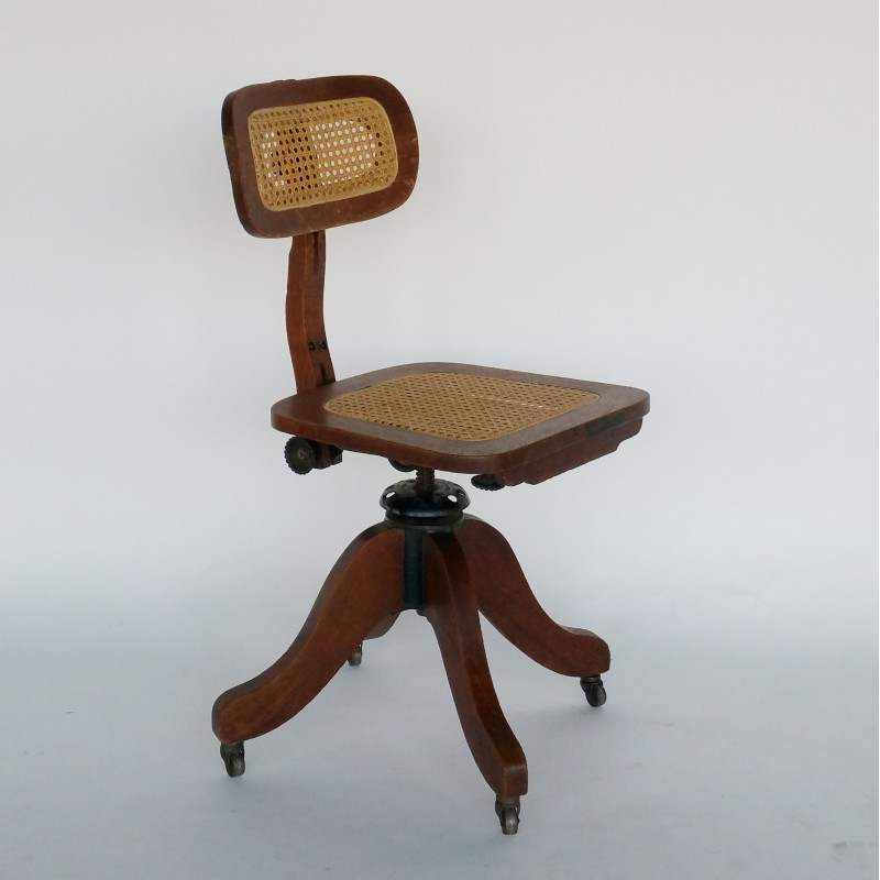 Awe Inspiring Wood And Cane Adjustable Typewriter Chair For Cook Company 1930S Spiritservingveterans Wood Chair Design Ideas Spiritservingveteransorg