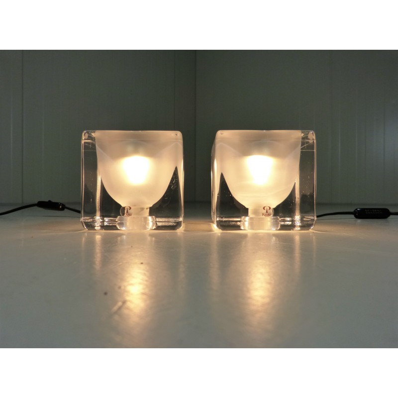 Set of 2 ice cube table lamps by peill putzler 1970s design market previous mozeypictures Gallery
