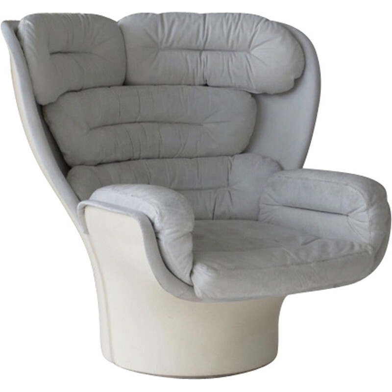 "White leather ""ELDA"" chair by Joe Colombo - 1960s"